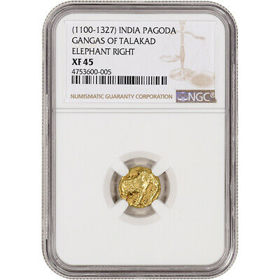 (1100 - 1327) India Gold Pagoda - Gangas of Talakad - Elephant Right - NGC XF45