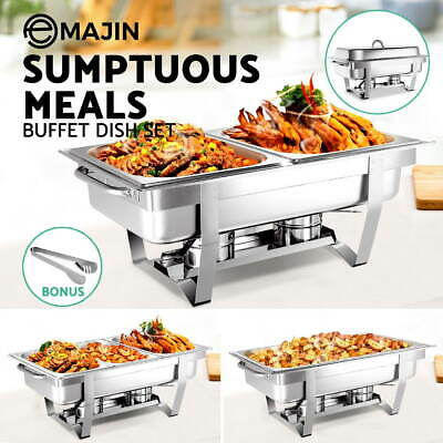 Emajin Bain Marie Bow Chafing Dish Buffet Stainless Steel Food Warmer Pan Heater