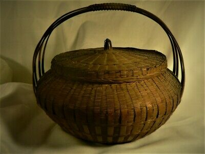 Antique Fine Lrg Covered Chinese Japanese  IKEBANA Woven Intricate Asian BASKET