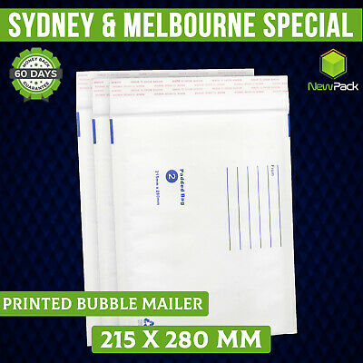 100x Bubble Mailer Padded Bag Envelope #02 215X280MM White Printed 215mm x 280mm