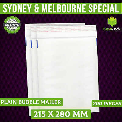 200x Bubble Padded Bag #02 215x280mm Plain BLANK WHITE Envelope Mailer kraft BM2