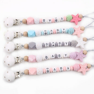 Star Silicone Beads Personalised Name Baby Teething Wooden Pacifier Chain Clips