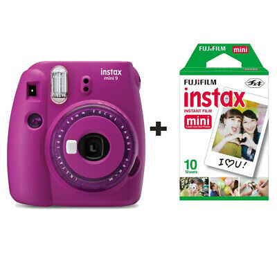 Fuji Fujifilm Instax Mini 9 Instant Camera with 10 Shots - Clear Purple