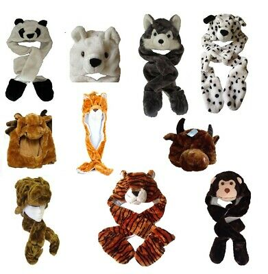 Furry Animal Trapper Hat Scarf Gloves 3 in 1 Christmas Kids Winter Warmer Fun
