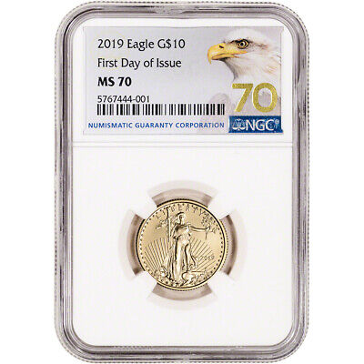 2019 American Gold Eagle 1/4 oz $10 - NGC MS70 First Day of Issue Grade 70