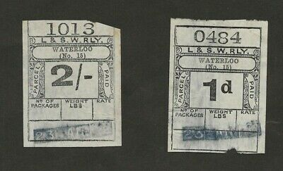 2 London & South Western Railway Parcel Stamps from Waterloo 1922