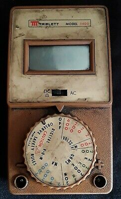 Vintage Triplett Model 3400 AC DC Volt Test Meter Working But is Dirty in Case