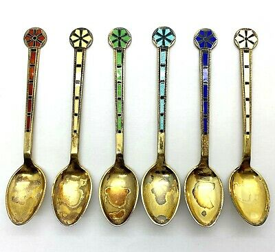 Guilloche Enamel Sterling Gold Wash Demitasse Spoons marked S.W. SET OF 6