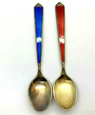SIGNED STEN BOE Guilloche Sterling Gold Wash Demitasse Spoons Sold as Pair