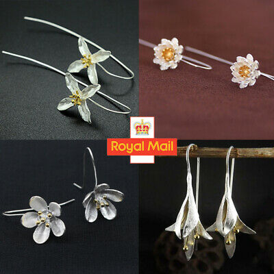 925 Sterling Silver Long Handmade Flower Bridal Wedding Drop Dangle Earrings