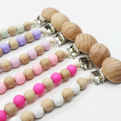 BPA Free Silicone Wood Round Beads Nipple Clip Baby Teething Pacifier Chain Clip