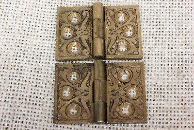 "2 old Hinges decorated door 1880 vintage interior shutter 1 1/4 x 1 3/4"" bronze"