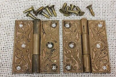"2 old decorated Hinges door 1880 vintage interior shutter 2 1/8 x 1 3/4"" bronze"