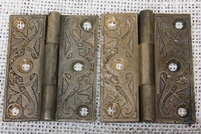 "2 old decorated Hinges 1880 vintage interior shutter 2 1/8 x 1 3/4"" dark bronze"