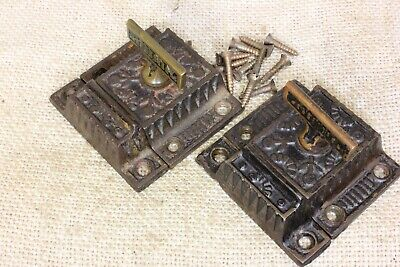 2 old Cabinet catches cupboard latches brass T knob Windsor vintage rustic paint