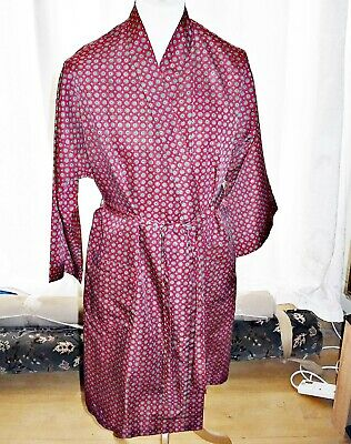 St Michael [M&S] Vintage Red With Geomtric Design Paisley Dressing Gown M