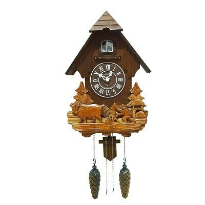 NEW Cuckoo Clock with Night Mode Singing Bird & Wooden Decorations
