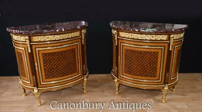 Pair French Empire Demi Lune Commodes Marquetry Cabinets