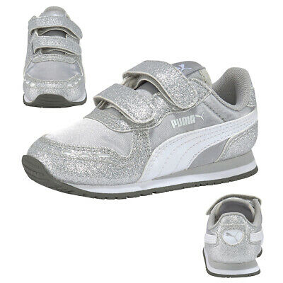 Puma Cabana Racer Glitz V Ps Kids Trainers Shoes Girl Silver 370985