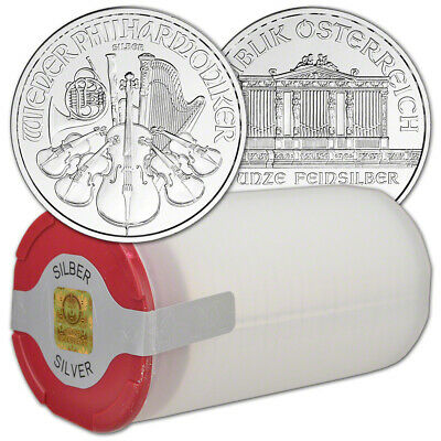 2020 Austria Silver Philharmonic 1 oz 1.5 Euro - 1 Roll 20 BU Coins in Mint Tube