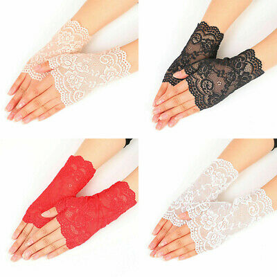 Women Bridal Wedding Party Dressy Lace Fingerless Evening Gloves Mittens