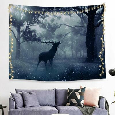 """Tapestry Snow Winter Elk Deer Trees Forest Nature Wild 80"""" x 40"""" Wall Hanging"""
