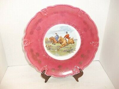 Vintage English Riding Fence Jumping Horse & Riders Gold Beaded Tray Platter 12""