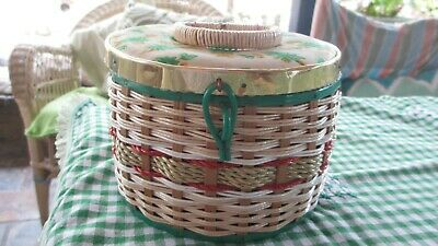Vintage  Childs Sewing  Basket Round ,green flowers