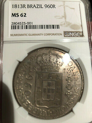 Brazil 1813 R  Silver 960 Reis,  Large silver crown, NGC certified MS-62