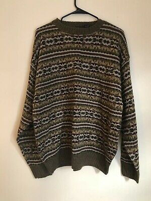 VTG Puritan Mens Fair Isle Sweater New Old Stock Size Large Brown Green Ribbed