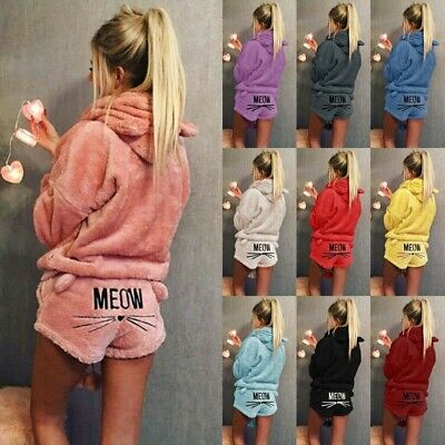 Womens Cat MEOW Fluffy Fleece Hooded Pyjamas Ladies Warm Sleepwear NightWear PJS