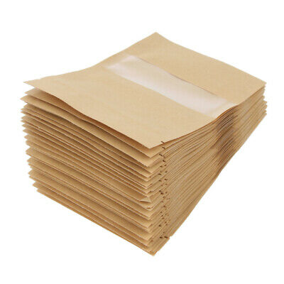 50Pcs Kraft Paper Bags Ziplock Stand Up Food Bags Gift With Clear Window