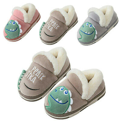 Cute Dinosaur Kids Boys Girls Novelty Slippers Winter Warm Fleece Lined Shoes