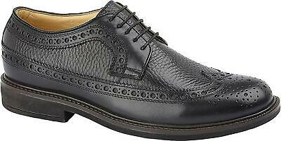 Roamers JAMES Mens Leather LaceUp Smart Casual Brogue Wingtip Gibson Shoes Black