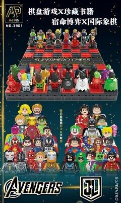 Lego fit Figures DC Justice League Vs Marvel Avengers Chess Board