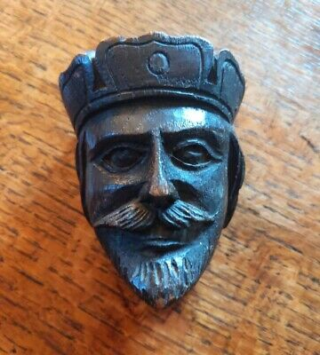 19th century gothic revival carved wooden head of King Richard.