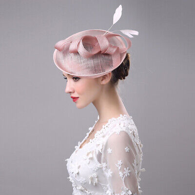 Feathers Wedding Bridal Hair Fascinator Clip Rose Gold Royal Ascot Ladies Day