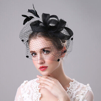 Feathers Wedding Bridal Hair Fascinator Headband Royal Ascot Ladies Day Navy Hat