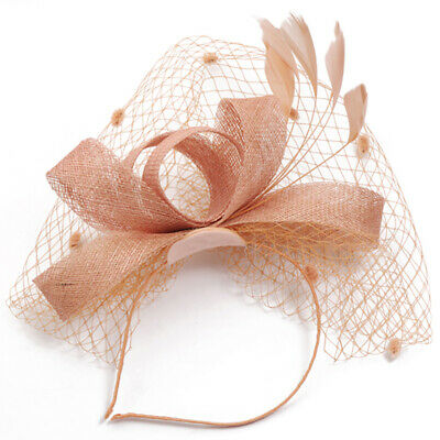 Feather Wedding Bridal Hair Fascinator Headband Royal Ascot Ladies Day Rose Gold