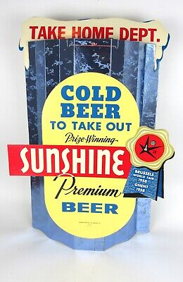 NOS Sunshine Brewing Co. Reading, PA Cardboard Easel Back Beer Advertising Sign