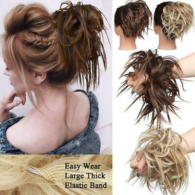 UK Large Thick Messy Bun Scrunchie Updo Loose Hair Extensions Hair Chignon Brown