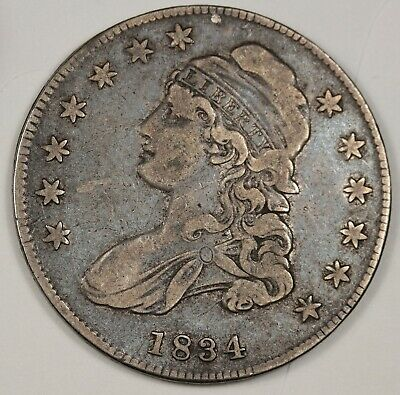 1834 Bust Half. Small Date, Small Letters.  About X.F.  143382