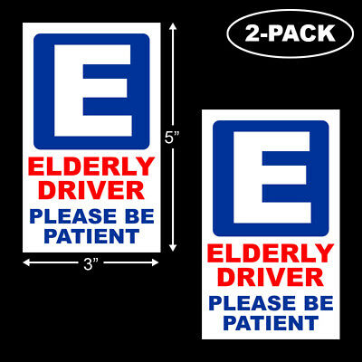 Elderly Driver Please Be Patient Bumper Sticker Handicap Disabled Senior 2-PACK