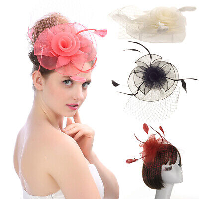 Feather Hair Fascinator Bunny Hair Clip Hat Wedding Ladies Day Royal Ascot Races