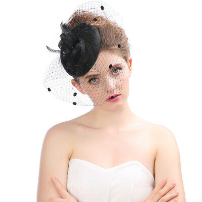 Feathers Wedding Bridal Hair Fascinator Clip with Veil Royal Ascot Vintage Hat