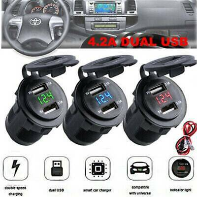 12V Car Cigarette Lighter Socket Dual USB Charger Splitter Adapter LED Voltmeter