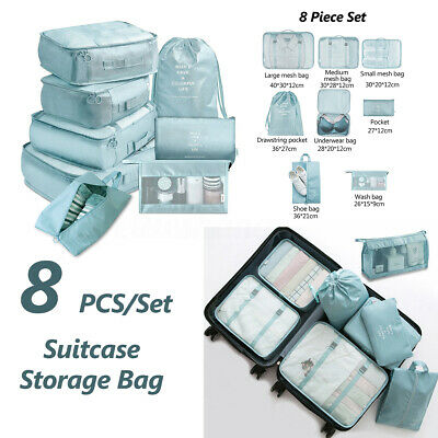 8Pcs Packing Cubes Cube Travel Pouches Luggage Organiser Suitcase Storage Bags