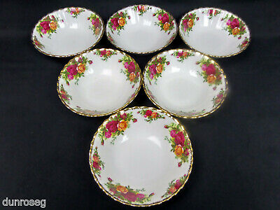 """6 OLD COUNTRY ROSES 16cm 6"""" CEREAL /DESSERT BOWLS, 1962-73, ENGLAND ROYAL ALBERT"""