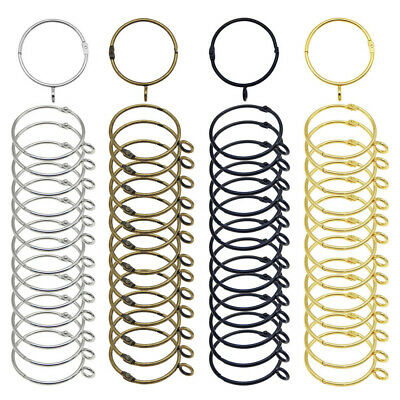 Lot of (x10) Durable Metal Curtain Rings Loose Leaf Blinder Openable 38mm 50mm