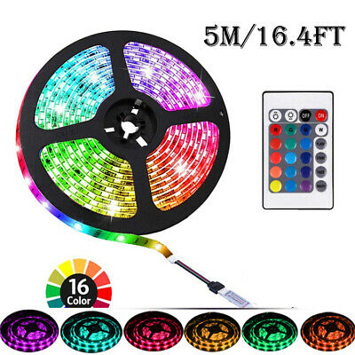 5M LED Strip Lights 12V TV Backlight 5050 RGB Colour Changing Remote Control UK